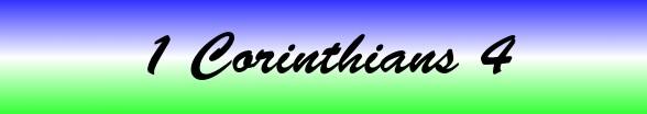 1 Corinthians Chapter 4