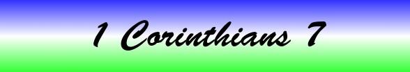 1 Corinthians Chapter 7